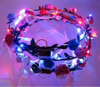 Wholesale LED Flashing Boho Bohemian Flower Garland Bride Girls LED Wreath Wedding Party Floral Headband Headdress 80pcs/lot