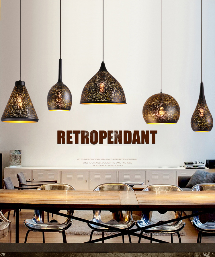Vintage Industrial Loft Retro Black Wrought Iron Hanging Lamp Hollow Carving Pendant Light For Restaurant bar Cafe ClubVintage Industrial Loft Retro Black Wrought Iron Hanging Lamp Hollow Carving Pendant Light For Restaurant bar Cafe Club