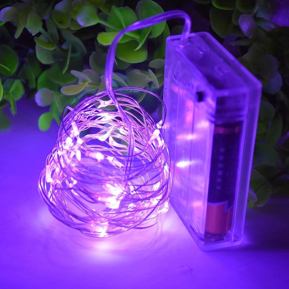 1x Purple 2m 20 Leds Battery Operated Mini Led Copper