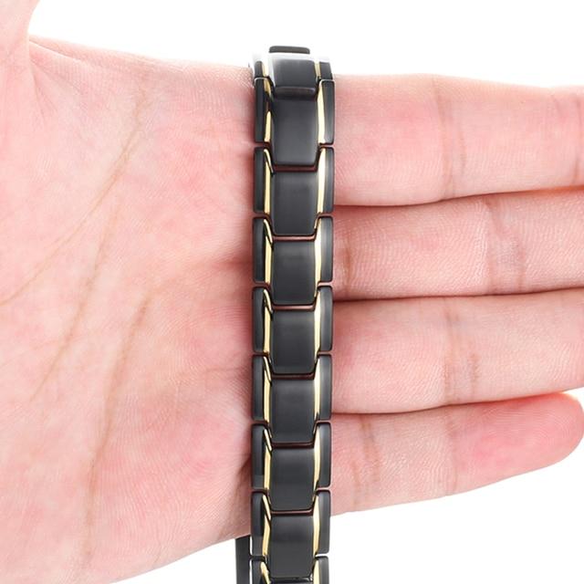 Black 316L Stainless Steel Men's Magnetic Health Bracelets & Bangles 3