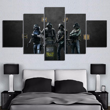 Home Decor Canvas Printed Poster 5 Panel Rainbow Six Siege Shooting Game Painting Solider Wall Art HD Pictures Modular Kids Room(China)