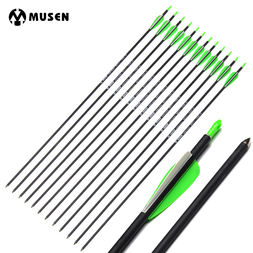6 12 24pcs 30 Inches Spine 700 Carbon Arrow with Green White Feature for Compound Recurve Bow Hunting Shooting in Bow Arrow from Sports Entertainment