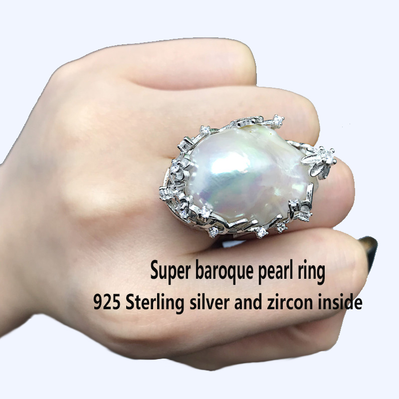 Image 5 - BaroqueOnly natural freshwater pearl 925 Silver Ring  huge Size high gloss Baroque Irregular Pearl Ring, Women Gifts RA-in Rings from Jewelry & Accessories