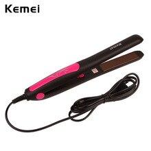 Best Buy Kemei 110-240V Professional Hair Straightener Ceramic Flat Iron Straightening Iron Styling Tool Hair Artifact lisseur Hair Plate