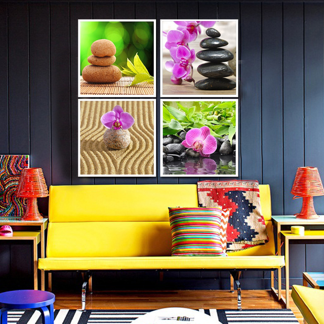 4 Panels Butterfly Orchid Flower and Stones Painting Wall Art ...