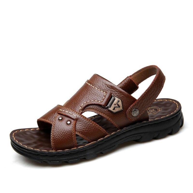 86fbd04789fd3 Ocasional dos homens Novos PU Sandália De Couro Sandálias Da Moda Sapatos  de Praia de Areia Verão Zandalias Masculino Confortável Sapato Calzado  Hombre