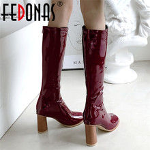 FEDONAS Autumn Winter Warm Patent Leather Women Knee High Boots 2020 New Zipper Sexy Long Boots High Heels Party Shoes Woman