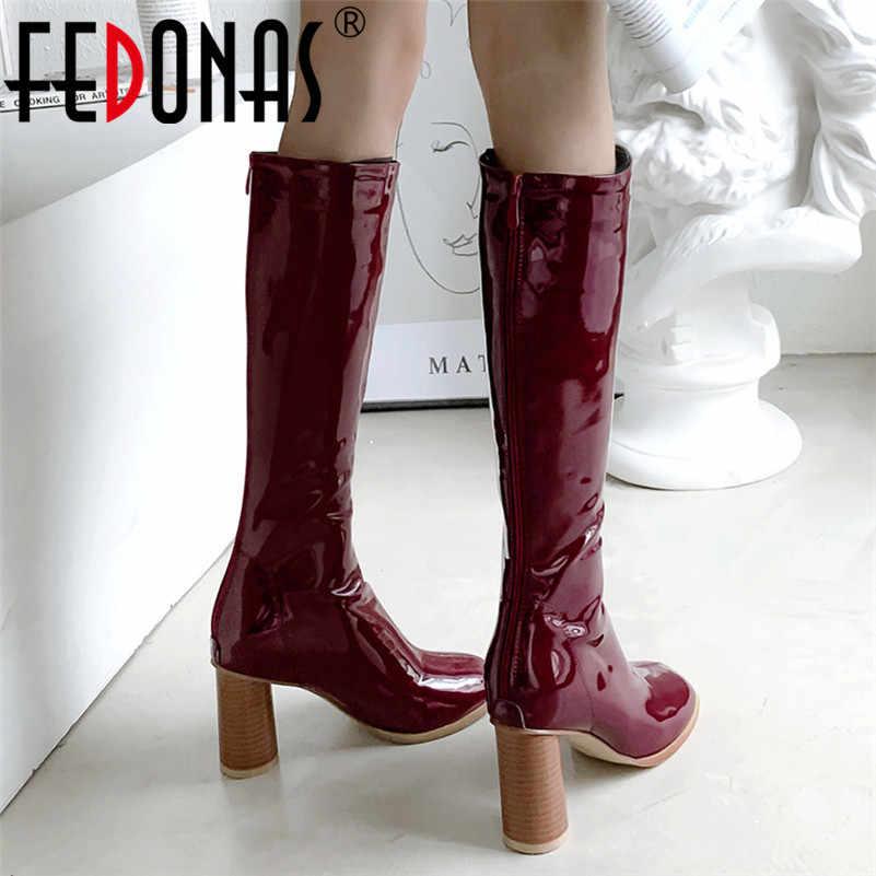 FEDONAS Sonbahar Kış sıcak Patent Deri Kadın Diz Yüksek Çizmeler 2020 Yeni Fermuar Seksi Uzun Çizmeler Yüksek Topuklu parti ayakkabıları Kadın