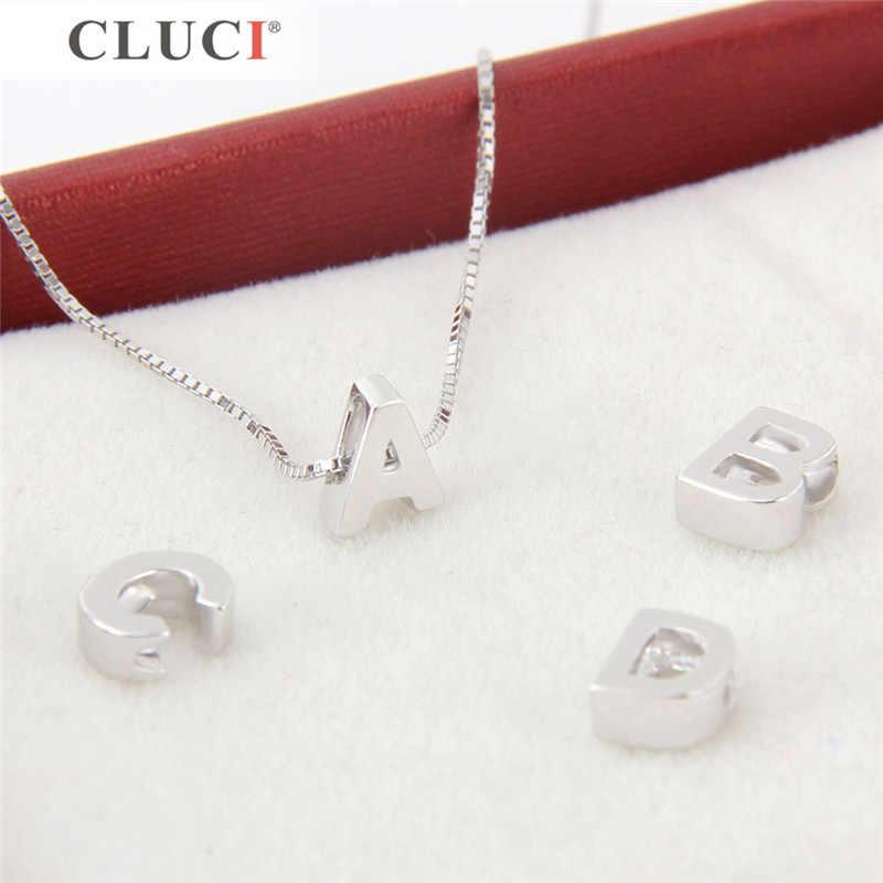 CLUCI เงิน 925 จี้สำหรับสร้อยคอเครื่องประดับทำ 26 ตัวอักษรรูปปรับแต่งจี้สำหรับผู้หญิงของขวัญวันวาเลนไทน์