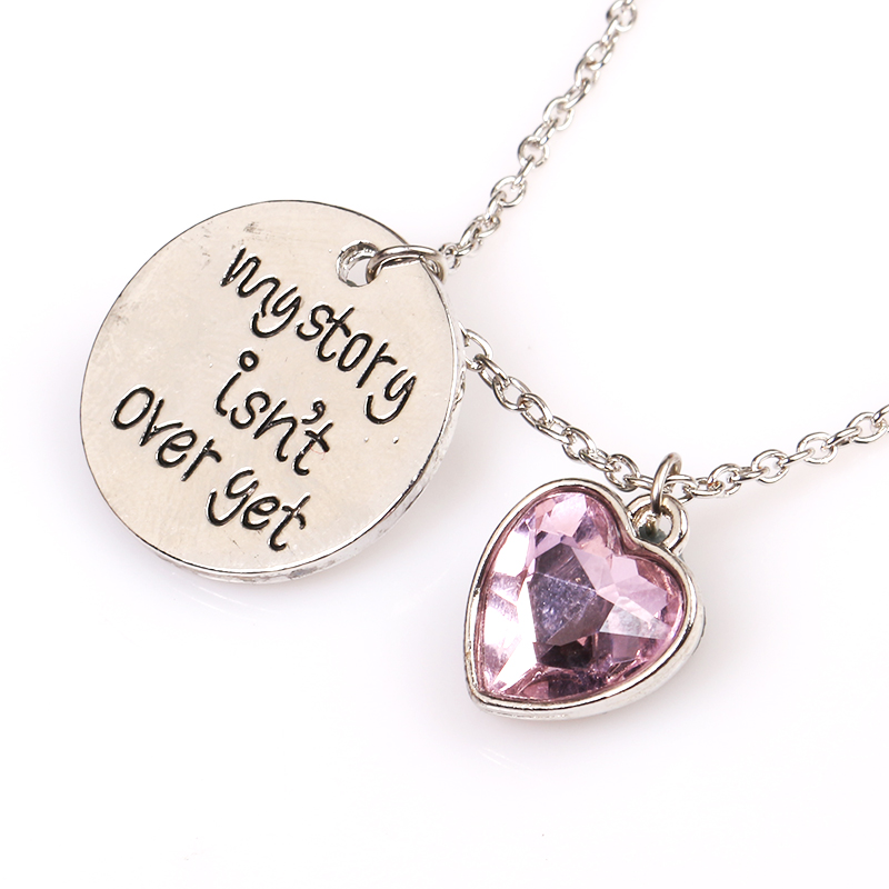 My Story is not over yet Green Pink Crystal Necklece Charm Metal Pendant for Women and Girls Accessories Dropshipping