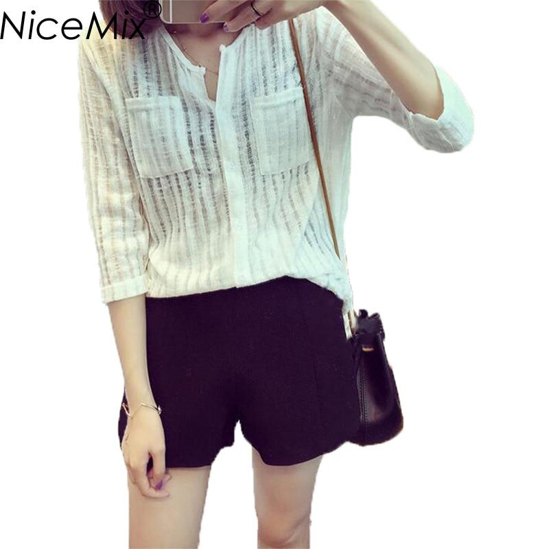 NiceMix 2019 Plus Size Long Sleeve Blusas Women Tops Elegant Cotton And Linen Blouse Loose V-neck Blouses Femme