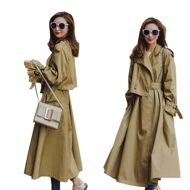2019 Harajuk Spring Trench Coat Women Turn Down Collar Long Sleeve Women Khaki Trench Coat Casual