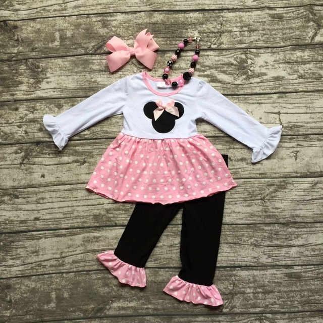 2016 new arrival FALL OUTFITS baby pink white dot minnie top black ruffle pant sets girls boutique  with necklace and bow