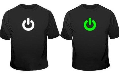 Glow In The Dark Power On Print Gadget Geek Mens T-Shirt Printed nerd t shirts t shirt men graphic tees