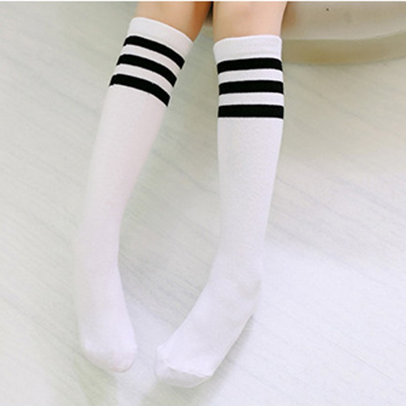 High-Knee Socks Babys Girls Autumn Warm Football Strips Sock Cotton School Soccer Boots Sport Long Leg Socks A