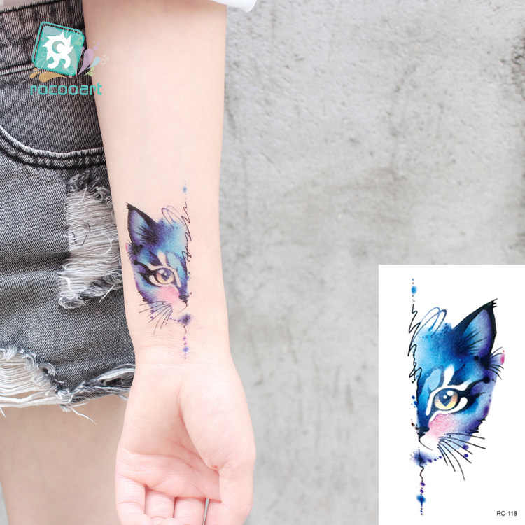 Rocooart, Tatuaje temporal impermeable de animales, Tatuaje temporal de flamenco, gato, zorro, Tatuaje, arte corporal para mujeres, nuevo Tatuaje falso, Tatuaje pequeño bonito