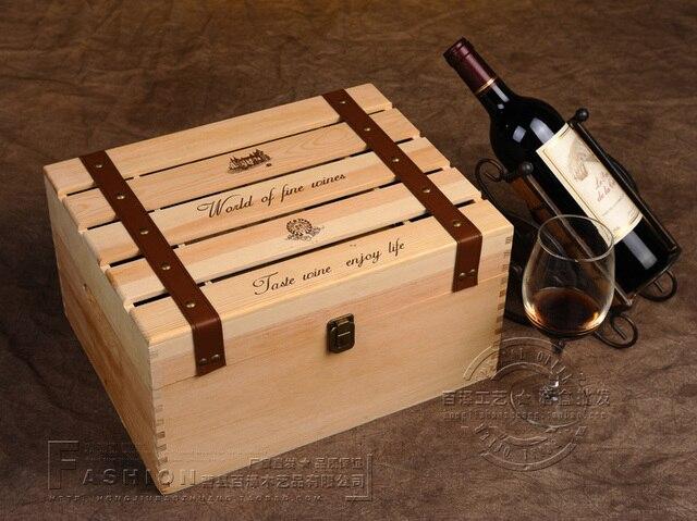 seis wine caja nica caja de madera antigua de gran volumen de embalaje barras de regalo cajas caso delicado marca maleta grande