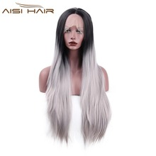 I's a wig  Lace Front Ombre Wigs for Black Women Long Straight Darked  Grey Synthetic Heat Resistant Hair