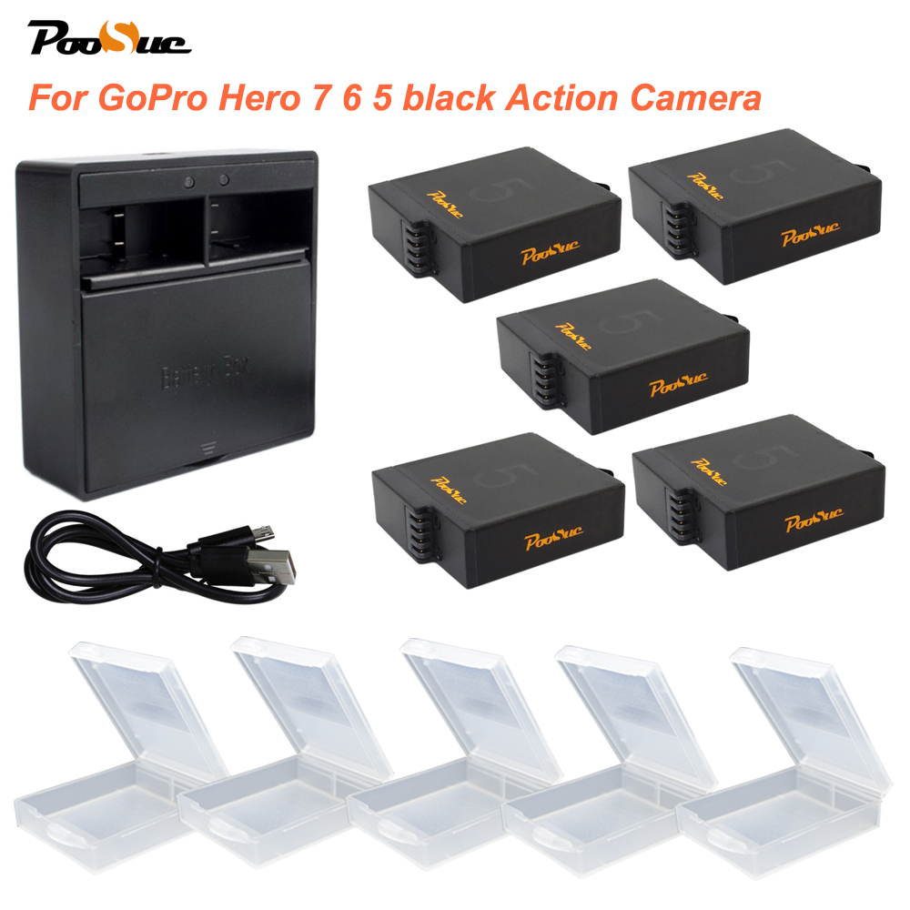 5x AHDBT-501 AHDBT 501 bateria Go pro Hero7 Hero5 batterie + boîte de rangement double chargeur USB pour Gopro Hero 5 Hero6 7 caméra d'action
