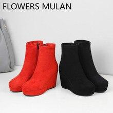 662e2a07b Zapatos De tacón alto rojo negro gamuza tacones tobillo botas para mujer  punta redonda plataforma moda damas botines lado cremal.