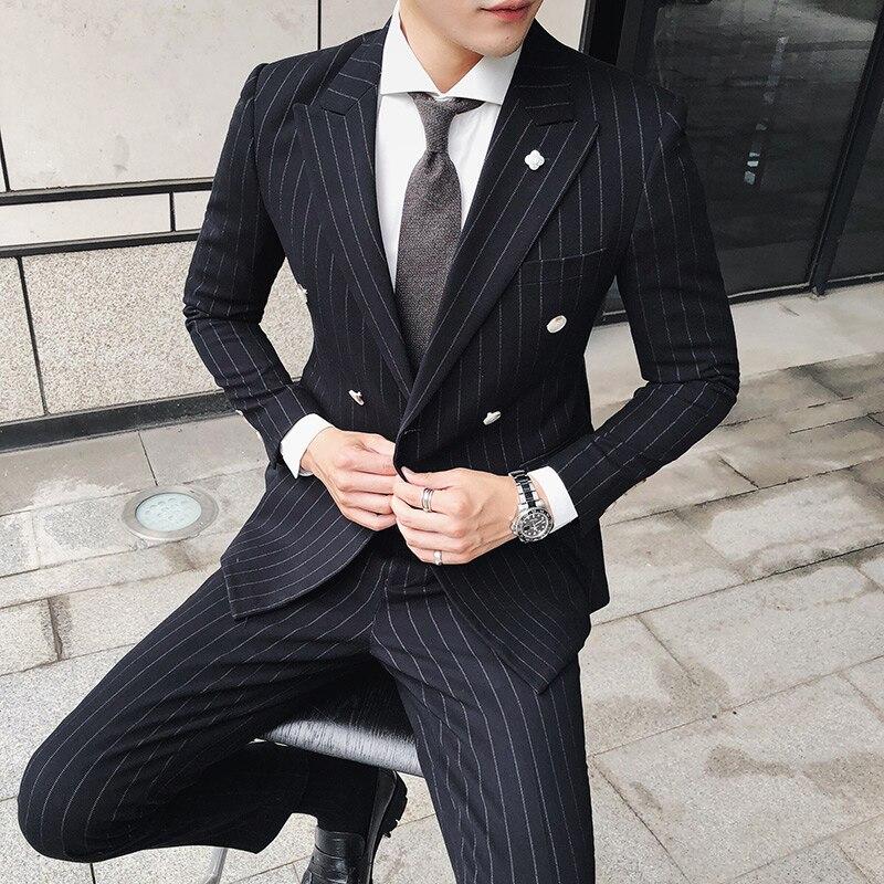 Nuevo estilo de chaqueta de los hombres Trajes chaqueta de lana dos Botones  espiga patrón retro 53c254fb3e6