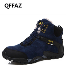 QFFAZ New Men Boots For Men Winter Snow Boots Warm Anti-slip Lace Up Fashion Men Shoes Working Safety Boots ShoesBig Size 38-46