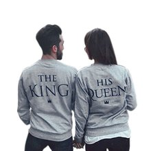 2017 AutumnWinter Fashion Couples Sweatshirts Print KING QUEEN Long Sleeve Hoodies Lovers Sweatshirt Men and Women Pullovers L2