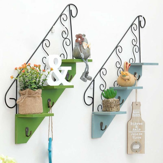 Vintage Wood Iron Storage Shelf With Hooks Retro Wooden Multi Function Wall  Hanging Cabinet Antique Rack