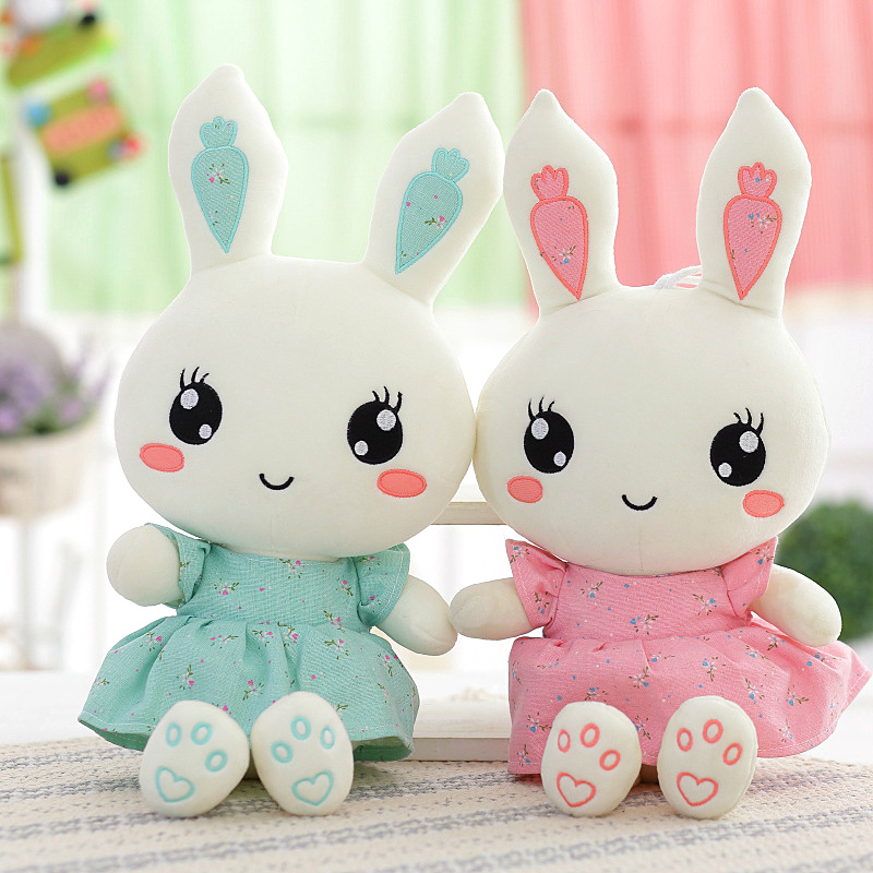2018 New Cute Wearing dress Rabbit plush toys bunny Stuffed dolls kids toys birthday gifts,clothes can be take off cute rabbit dolls plush toys luminous love bunny dolls girls birthday gift 100cm