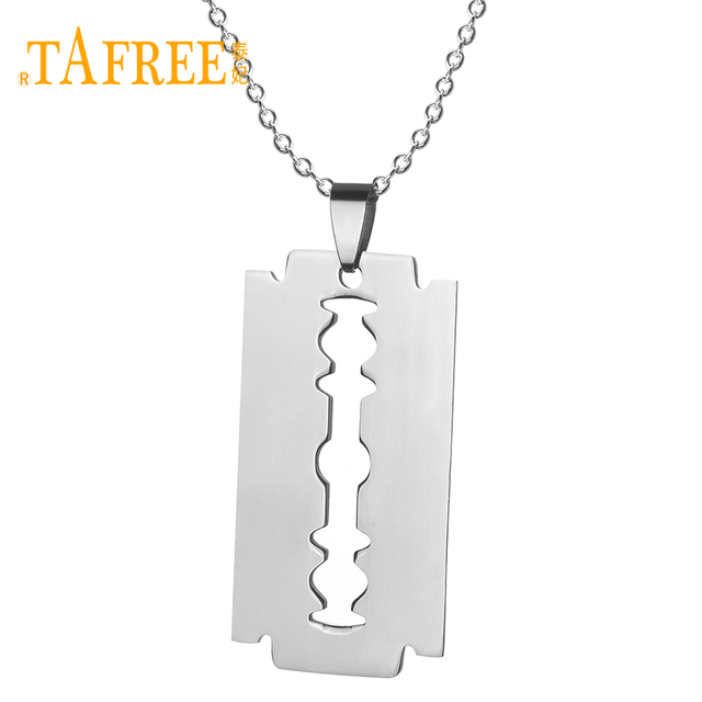 Tafree no fade stainless steel razor blades pendant necklaces men tafree no fade stainless steel razor blades pendant necklaces men jewelry shaver shape necklaces pendant thecheapjerseys Image collections