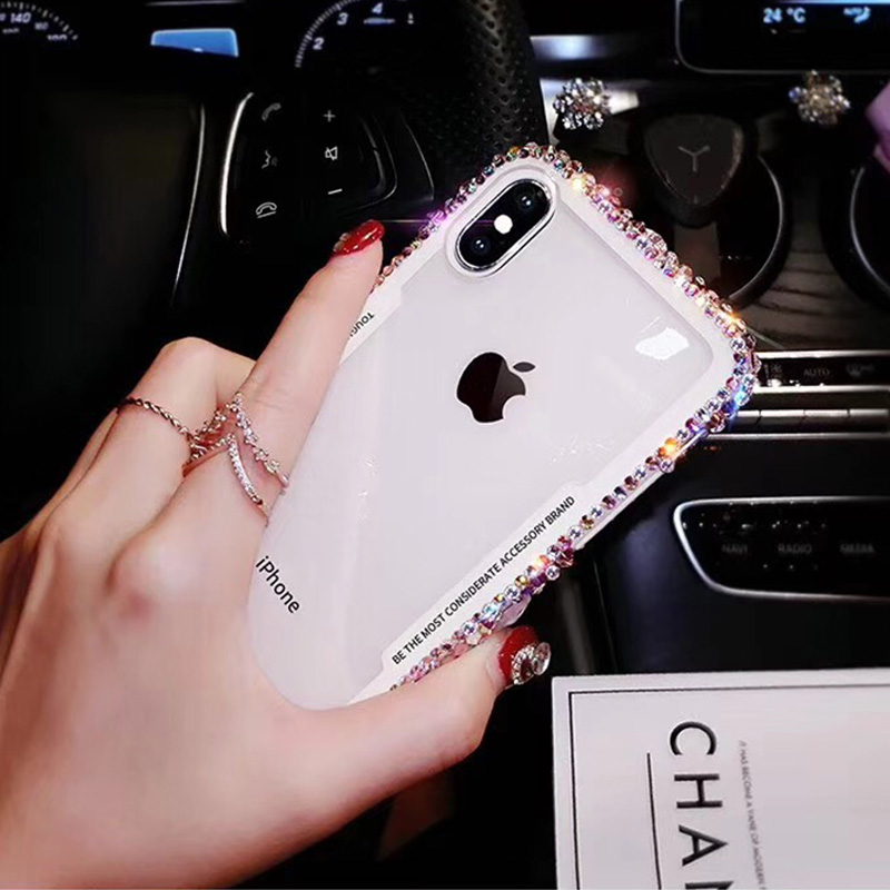Ascromy For iPhone 7 Case Glitter Rhinestone Silicone Bumper Tempered Glass Back Cover For iPhone X 8 Plus 6 6S Capa Accessories (3)