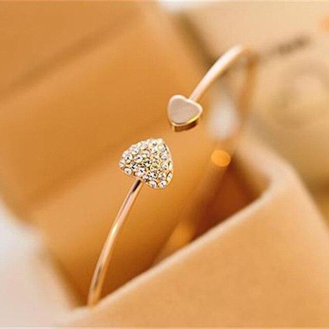 guangtuo Crystal Heart Cuff Bracelet Women Jewelry Gift