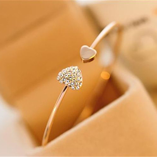 SL043 Hot New Fashion adjustable Crystal Double Heart Bow bis