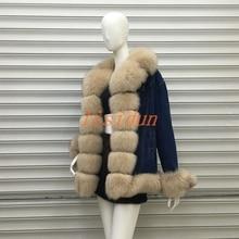 2018natural Fox fur coat collar rabbit hair liner faction overcome Jacket White fox Free shippinblack