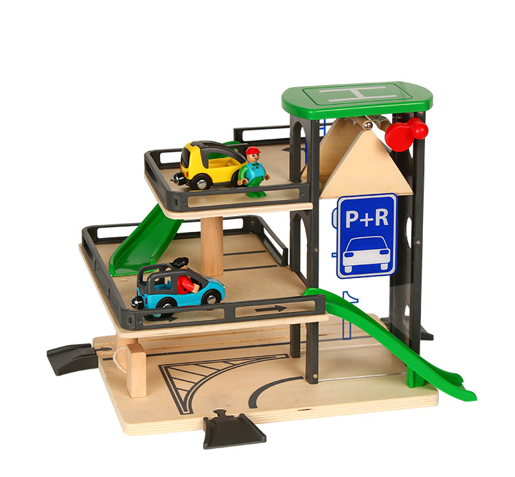 EDWONE Thomas Lift Parking Lot G Train Track Set Wooden Railway Track Fit For Thomas Train and Brio Gifts For Kids