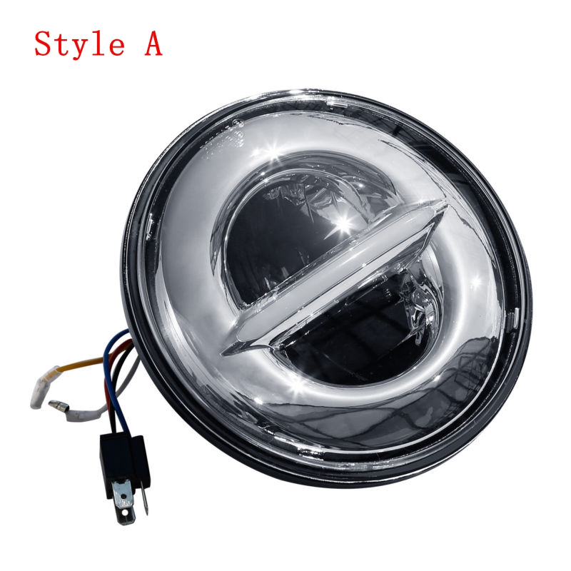 Motorcycle 5-3/4 5.75 Round Projector LED Headlamp Headlight For Harley Touring models Dyna Bad Boy Softail Sportster 883 1200 5 75 5 3 4 chrome headlight housing bucket for harley electra glide bad boy