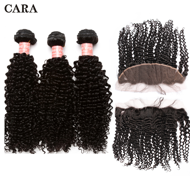 Frontal With Bundles Brazilian Kinky Curly Virgin Hair 3 Bundles Human Hair Extention 13x4 Lace Frontal Closure CARA