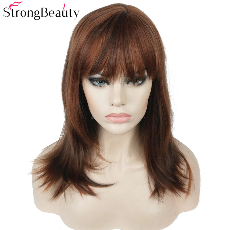 Strong Beauty Synthetic Long Straight Wigs Auburn Mix Bob Neat Bang Hairstyle for Women Wig in Synthetic None Lace Wigs from Hair Extensions Wigs