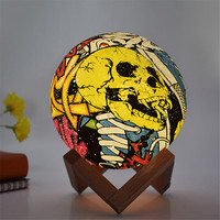 Thrisdar Rechargeable 3D Print Moon Lamp Painted Skull Moon Table Night Light Touch Switch Bedroom Led Night Light Creative Gift