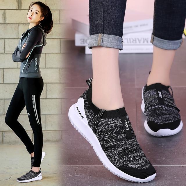 606732b39e830 2019 neue Frauen Frühling Turnschuhe Plus Größe Schuhe Weibliche Mesh  Vulkanisierte Damen Mode Lässig Atmungsaktive Flache Walking Schuhe