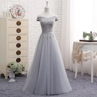 Robe De Soiree A line Cap Sleeve Evening Dresses with Lace Appliques Long Tulle Party 2019 Pink Navy Blue Gray Pink EN04M