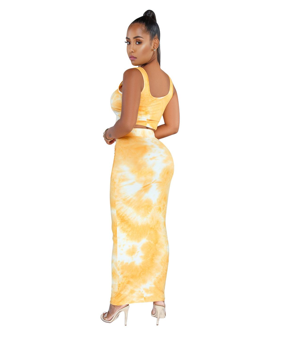 Women Sexy 2 Piece Set Tie Dye Print Skirt Set Sleeveless Crop Top and Long Pencil Skirt Lace Up Wrap Elegant Party Club Outfit in Women 39 s Sets from Women 39 s Clothing