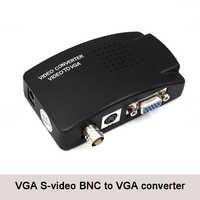 Convertidor de BNC a vídeo VGA para PC, portátil, TV, RCA, s-video, AV a PC, VGA, LCD, adaptador, caja de interruptor para CCTV, DVD, DVR