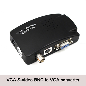 CCTV Camera BNC S Video VGA to Laptop Computer PC VGA Monitor Converter Adapter Box free shipping hd 8 tft lcd color monitor 1204 768 vga bnc video audio for pc cctv cam vcd dvd