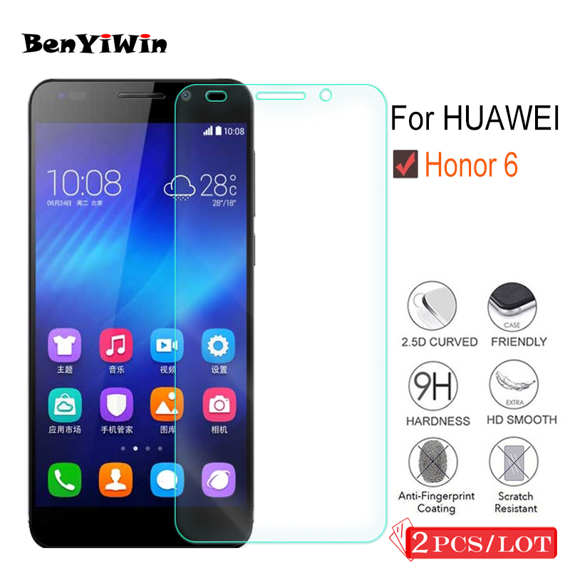 2 Pcs 9H Premium Tempered Glass For Huawei Honor 6 Display screen Protector Clear Toughened Protecting Movie Case For Honor6 Cowl Cellphone