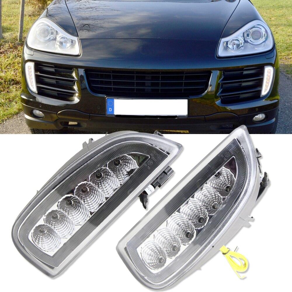 1 полный комплект белый/желтый светодиодные DRL / светодиодные поворотники фара для Порше Кайен 957 я 9PA 2006-2010 дневного света