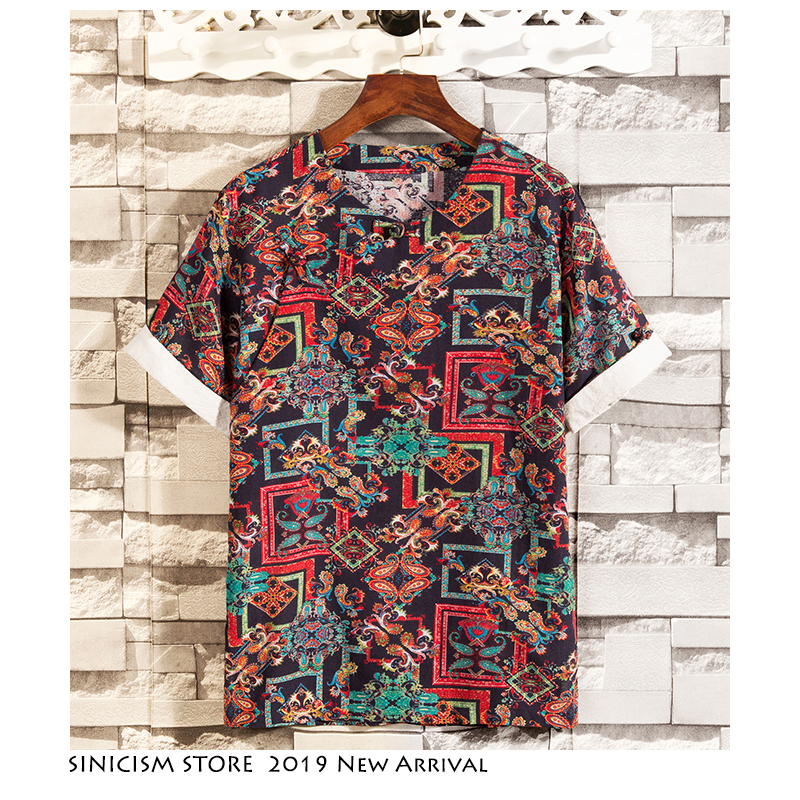 Sinicism Store Men Buckle Casual TShirts 2019 Mens T Shirt Chinese Style Summer Male Cotton Linen Vintage Clothing Plus Size