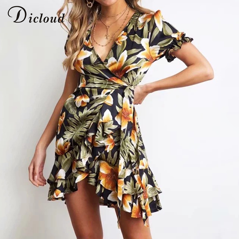 Dicloud Boho Floral Summer Mini Dress Women Ruffles Short Sleeve Casual Mini Sundress Wrap Bodycon Party Vestidos De Fiesta 2019 Be Shrewd In Money Matters Dresses