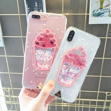Tfshining Luxury Glitter Cell Phone Case For iPhone X XS Max XR 8 6s 6 7 Plus Cute Pink Quicksand 3D Ice Cream Soft TPU Cover