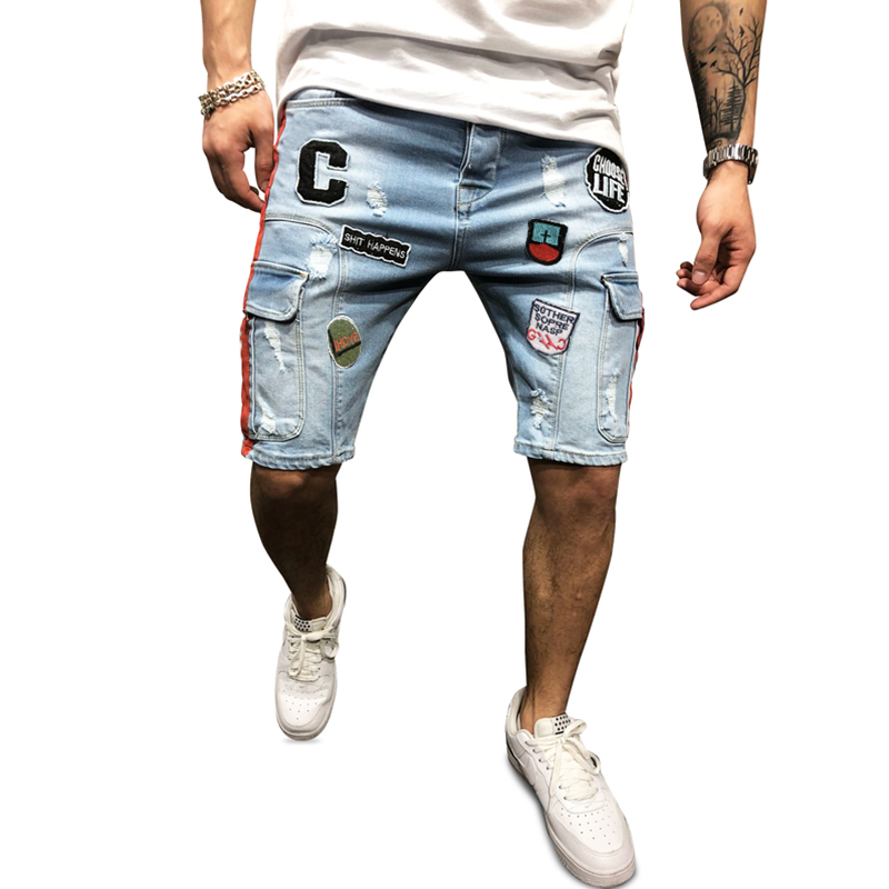 Blue Jeans The New Men's Denim Shorts Are Embroidered With Matching Colors